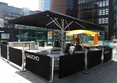 Cafe Banner and Giant Commercial Parasol for Gaucho London