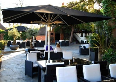 Giant Heated Parasols for Sheesh Restaurant Chigwell Essex