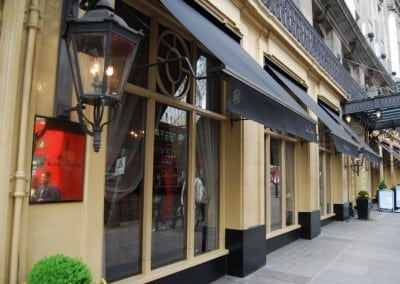 Victorian Awnings for The Waldorf Hilton Hotel in Covent Garden London