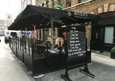 Commercial Parasols Terrrace Screen Bentleys Picadilly