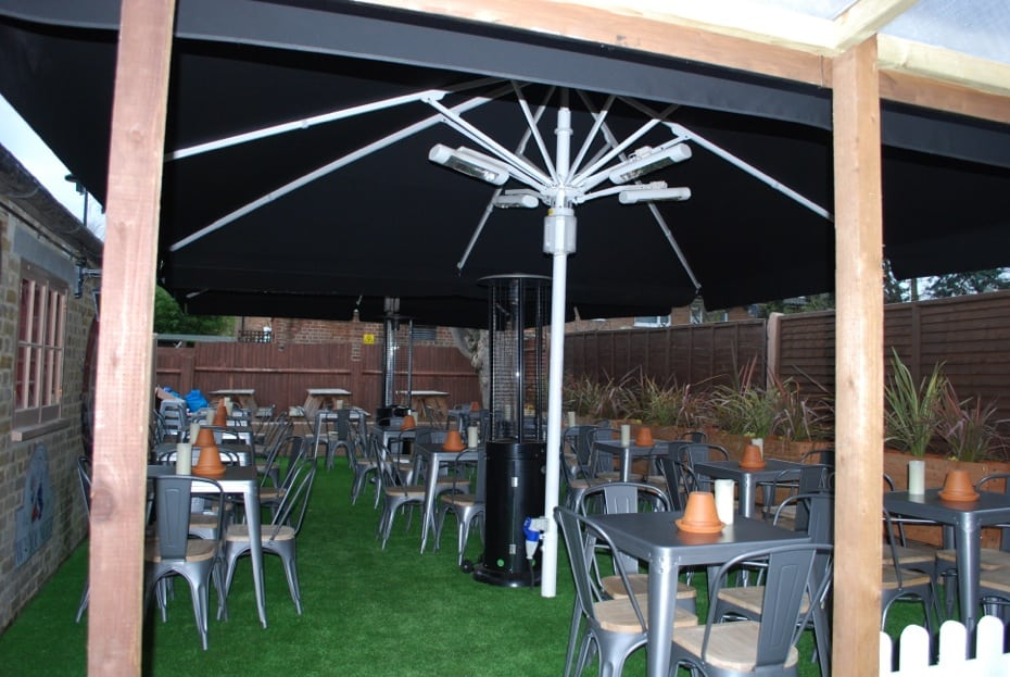 Giant Heated & Lighted Parasol Craft Beer Clapham London