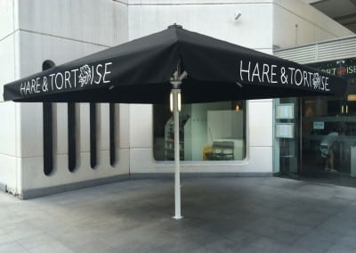 Giant Heated & Lighted Commercial Parasol Hare & Tortoise Brunswick London