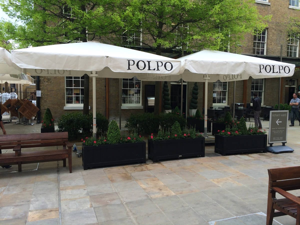 Giant Heated And Lighted Parasol Polpo Restaurant Chelsea