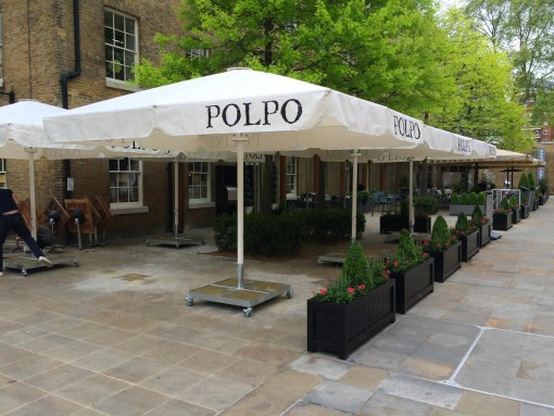 Giant Heated and Lighted Parasol Polpo Restaurant Chelsea London