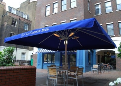 Victorian Awning & Giant Heated Lighted Commercial Parasol Cafe Banners Cordon Bleu Holborn London