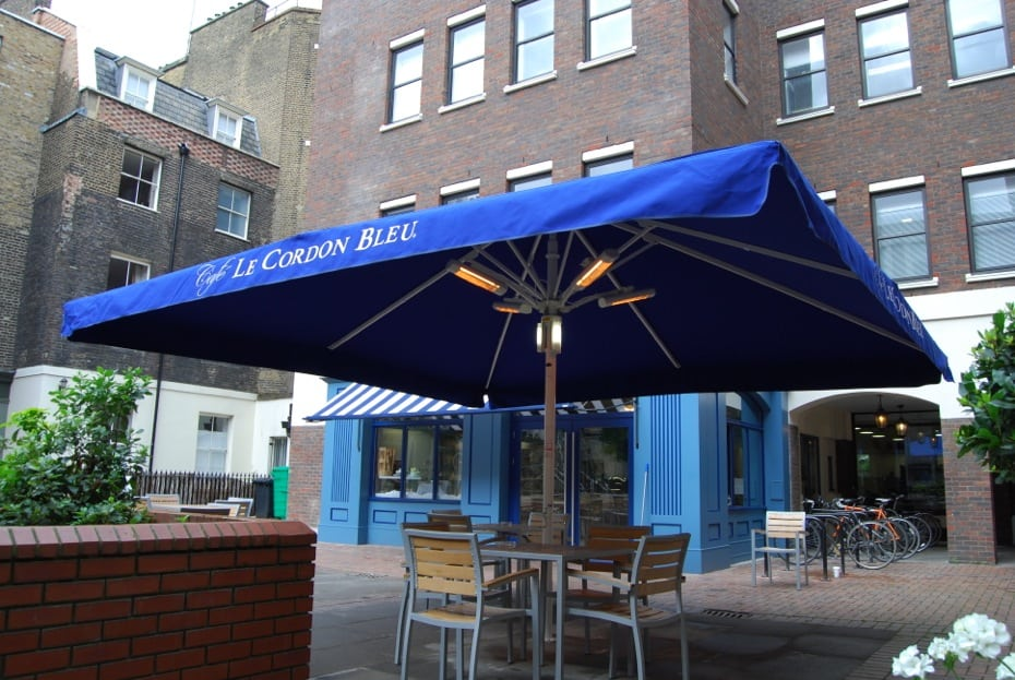victorian awning giant heated lighted parasol cordon bleu holborn london alfresco. Black Bedroom Furniture Sets. Home Design Ideas