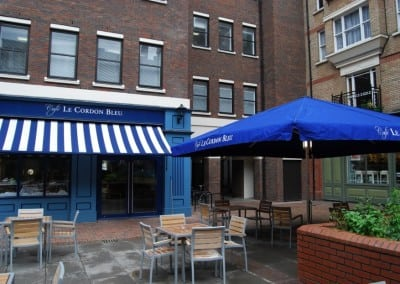 Victorian Awning & Giant Heated & Lighted Parasol Cordon Bleu Holborn London