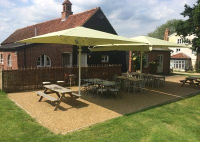 Commercial Parasols with Heating and Lighting Buxhall Restaurant Suffolk 1