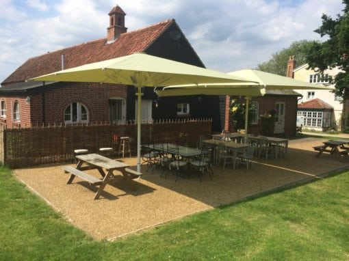 Commercial Parasols with Heating and Lighting Buxhall Restaurant Suffolk