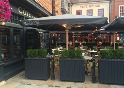Commercial Parasols with Heating and Lighting and Victorian Awning Cote Restaurant Canterbury  1