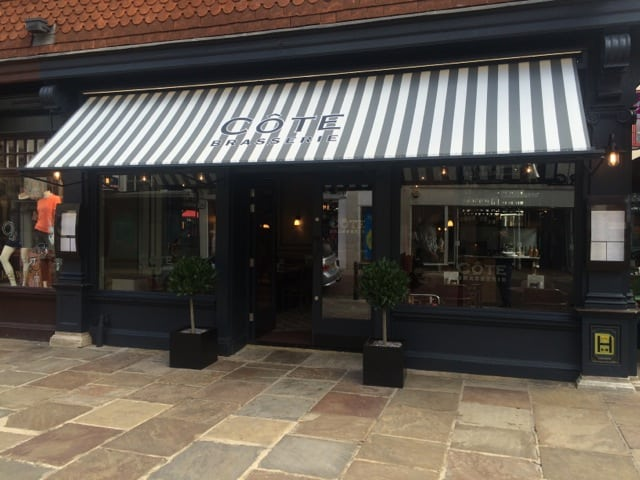 Commercial Parasols With Heating And Lighting And Victorian Awning Cote  Restaurant Canterbury