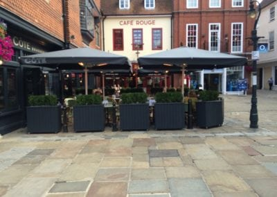 Commercial Parasols with Heating and Lighting and Victorian Awning Cote Restaurant Canterbury  3