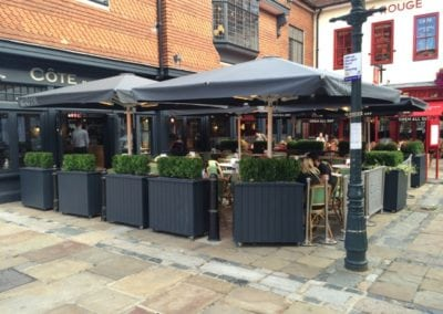 Commercial Parasols with Heating and Lighting and Victorian Awning Cote Restaurant Canterbury  4
