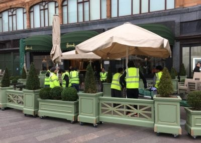 Heated and lighted Commercial Parasol Laduree Harrods Knightsbridge London 1