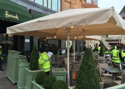 Heated and lighted Commercial Parasol Laduree Harrods Knightsbridge London 2