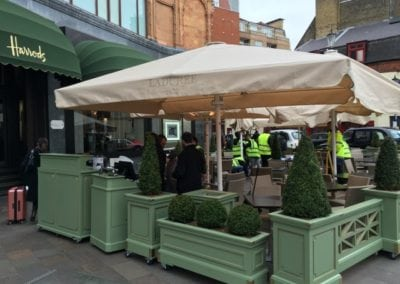Heated and lighted Commercial Parasol Laduree Harrods Knightsbridge London 3