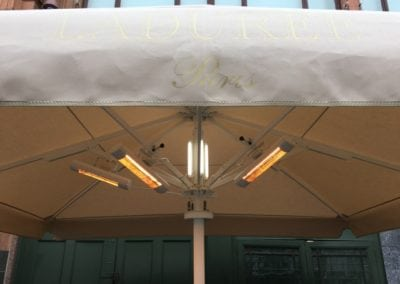 Heated and lighted Commercial Parasol Laduree Harrods Knightsbridge London 4