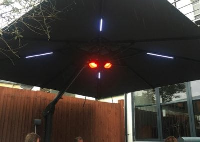 Side Arm Umbrella for Pogessi for Ryans Bar Hackney London N16 2