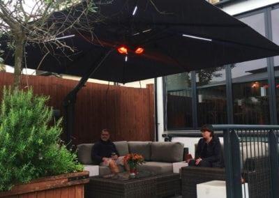 Side Arm Umbrella for Pogessi for Ryans Bar Hackney London N16 4