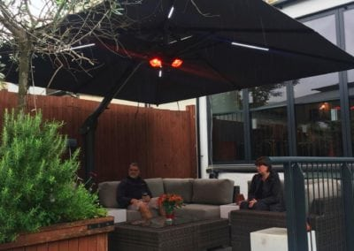 Side Arm Umbrella for Pogessi for Ryans Bar Hackney London N16 5