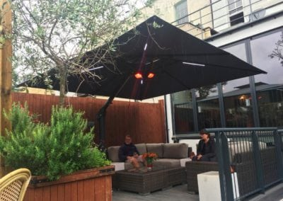 Side Arm Umbrella for Pogessi for Ryans Bar Hackney London N16 6