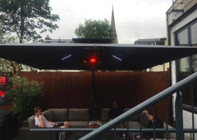 Side Arm Umbrella for Pogessi for Ryans Bar Hackney London N16 7