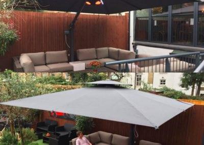 Side Arm Umbrella for Pogessi for Ryans Bar Hackney London N16 8