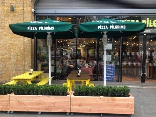Pizza Pilgrim Bespoke 2 metre square Parasols
